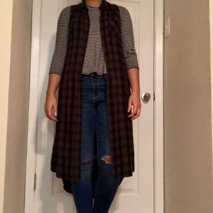 Sage green and black plaid duster vest